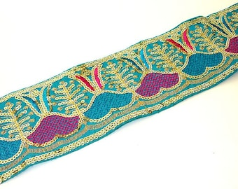 Turquoise Silk Sari Border: Blue Sequined Hand Embroidered Silk Ribbon 1 yard, with Pink and Gold accents, Indian Trim