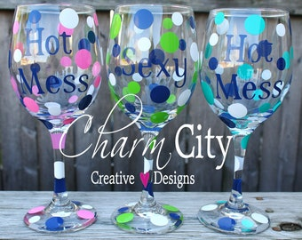 Personalized Girly Wine Glass birthday holiday bridal wedding bachelorette