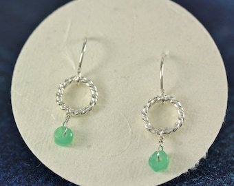 Rope Circle with Bead Drop Earring