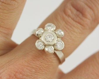 READY TO SHIP Size 7 Sterling Silver Daisy Ring with cz's