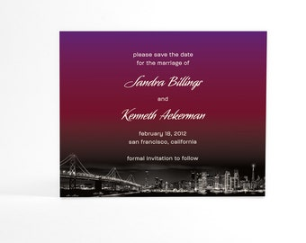 Ombre Save the Date Cards, Modern Save the Dates, Ombre Postcards, City Skyline, Custom City Wedding, San Francisco or Your Chosen City