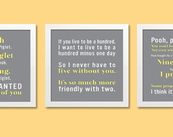 Personalized Quote Print Set 12x12, Set of 3 prints, Winnie the Pooh (poem, song lyrics, inspirational quote) grey & yellow, custom colors