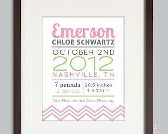 Custom Chevron Birth Print, Nursery Wall Art Print (baby name and birth stats) pink & green
