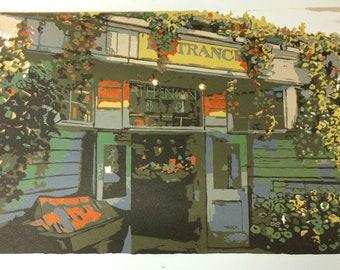 Pike Place Market, original linocut relief print