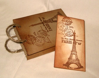Paris Chic Mini Vintage Inspired Hand Distressed Shopping Bag Favor Gift Card Holder Jewelry Bag