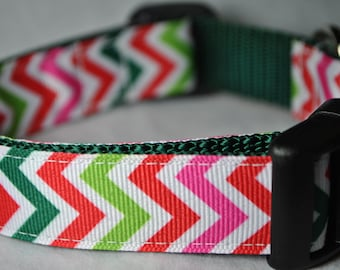 """Colorful Chevrons 1"""" Adjustable Dog Collar - Limited Availability"""
