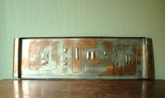 Mid Century Modern Abstract Copper Tray By Yaad Israel - Paul Klee Era Modernist Etching