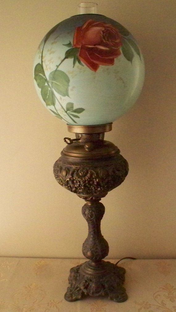 Reserved 4 Bluecarriageantique Brass Banquet Lamp Or Stick
