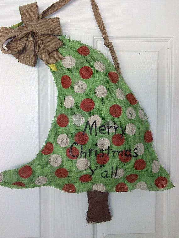 Items Similar To Christmas Tree Burlap Door Decor On Etsy