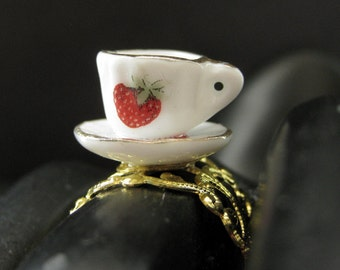 Strawberry Teacup Ring. Porcelain Tea Cup Ring. Gold Filigree Adjustable Ring. Handmade Jewelry.