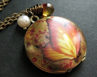 Butterfly Locket Necklace. Autumn Butterfly Necklace with Wire Wrapped Teardrop and Pearl. Handmade Jewelry.