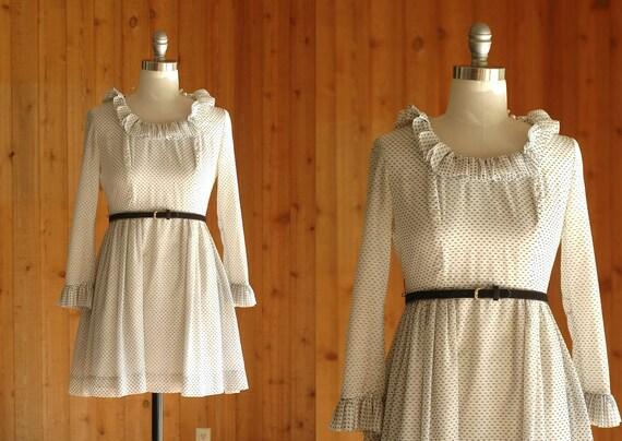 vintage 1960s mini dress / 60s swiss dots and ruffles / jonathan logan / xs small
