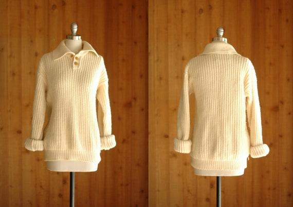 vintage men's white wool sweater / medium