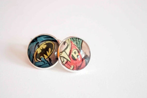 Recycled vintage comic book earrings