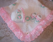 Crochet Baby Girl Blanket Layette With Satin and Lace Ruffle, Bonnet and Booties for Baby Shower Gift or Coming Home