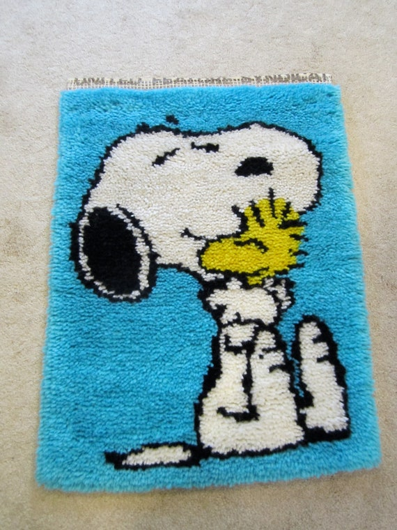 Snoopy And Woodstock Latch Hook Rug Yarn Art