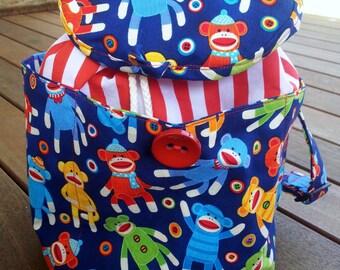 SALE! Child's backpack - stripes and monkeys