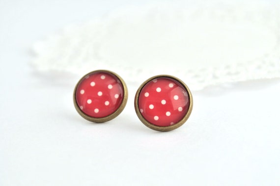 Stud Earrings White and Red Polka Dot...Antique Brass, Glass Dome...