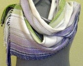 Striped Scarf Blue Violet Gray White Salad Green hand woven cloth