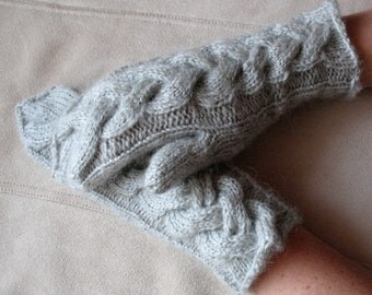 Long Knit Mittens Gloves Arm Warmers Light Gray, Soft Acrylic Mohair