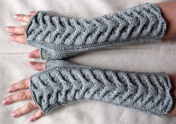 Fingerless Gloves Mittens Gray Arm Warmers Long , Acrylic