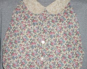 Womens Adult Bib / Special Needs Pink and White Floral Shirt Front Bib