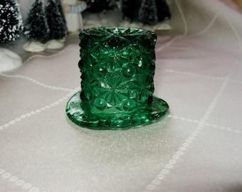 Sale***Vintage Miniature Green Glass Hat - Green Glass Top Hat