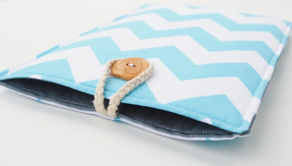 Sale - Chevron Kindle Case, Nook Sleeve, Teal eReader Fabric Sleeve Grey with Teal and White Chevrons