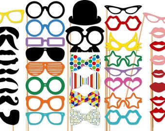 Wedding Photo Booth Props - 40 Piece Set - Photobooth Prop - Birthday