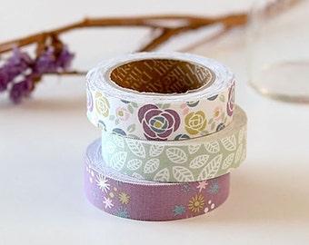 Decorative Adhesive Fabric Masking  Tape- Camellia (3 Set)