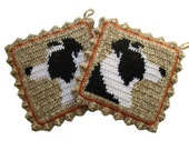 Border Collie Pot Holders. Crochet potholders with collie dogs. dog decor