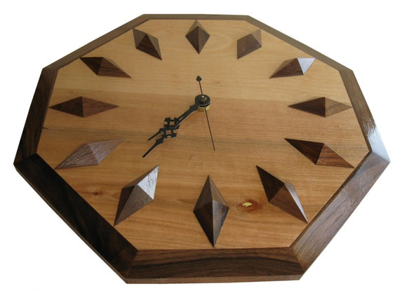 Wood Hanging Clock.  Walnut and birch wooden wall clock.