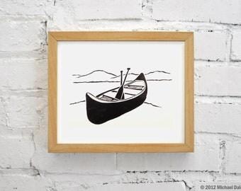 Canoe Handmade Print - Lake River Mountains