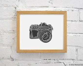 Vintage Black Camera Print