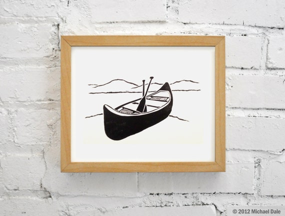 Canoe and Paddles Linocut Relief Print - Printmaking Paddling Outdoors River Stream Mountains