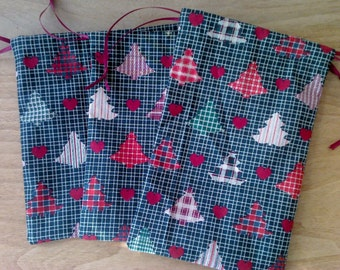 3 Christmas Tree Drawstring Fabric Gift Bags Upcycled