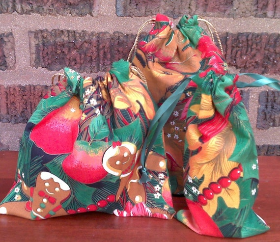 3 Gift Bags for Christmas Upcycled Reusable