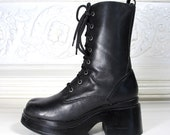 Vtg 90s Chunky Platform Black Leather Combat Boots / Lace Up Boots / Women's Size 7.5 US - 38 Eur - 5 UK