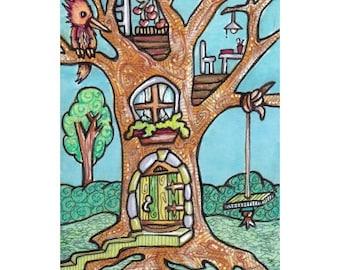 Treehouse Original ACEO, Tiny Faerie House Mini Art