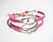 Pink Heart Padlock Bracelets Adjustable Stackable Bracelets MADE TO ORDER-1 Week production time