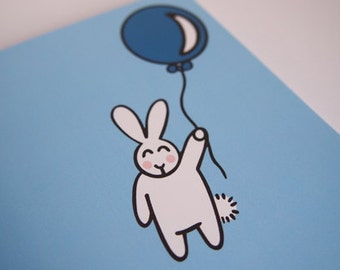 Cute Bunny Balloon Floating 'Up Up and Away' Blank Greeting Card