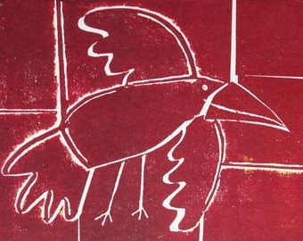 As the crow flies - Raspberry Signed Original Collagraph, hand pulled relief print