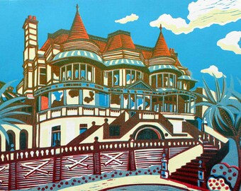 East Cliff Hall, signed original linocut print, edition of 50 - contemporary fine art