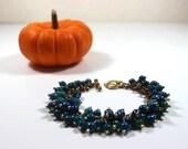 Evergreen Beaded Cluster Bracelet, Australian Jasper Bracelet, Deep Green, Jewelry, Statement Bracelet, Cluster Bracelet