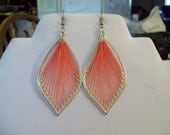 Beautiful Sliver and Salmon Orament Thread Leaf Earrings, Boho, Gypsy, Southwestern, Native, Sexy, Belly Dancer, Ready to Ship