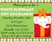 White Elephant Gift Exchange Invitation Print Your Own 5x7 or 4x6