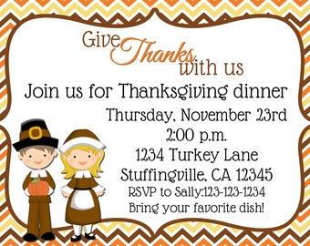 Thanksgiving Dinner Pilgrim Invitation Print Your Own 5x7 or 4x6