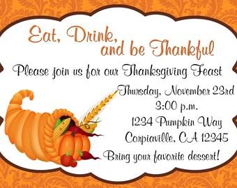 Thanksgiving Dinner Cornucopia Invitation Print Your Own 5x7 or 4x6