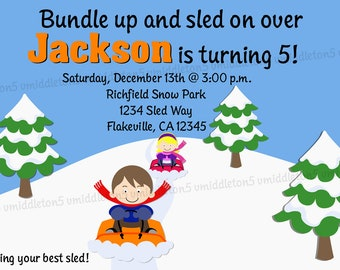 Winter Sledding Birthday Party Invitation Print Your Own 5x7 or 4x6