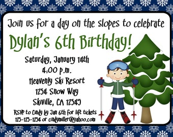 Ski Birthday Invitation Boy and Girl Option Print Your Own 5x7 or 4x6